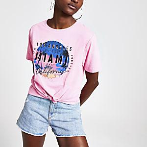 T-Shirt mit Pailletten und Print