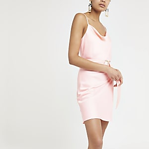Bright pink cowl neck belted slip dress