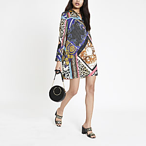Purple print shirt dress