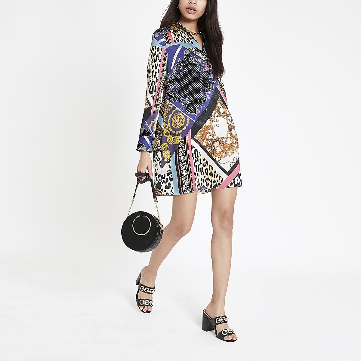 Purple print shirt dress