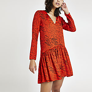 Red animal print swing dress