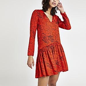 Robe évasée à imprimé animal rouge