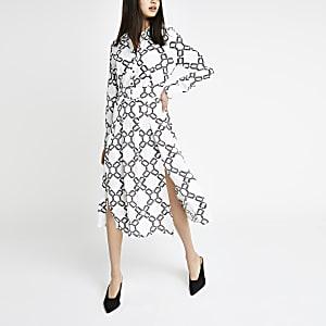 Witte midi-overhemdjurk met print