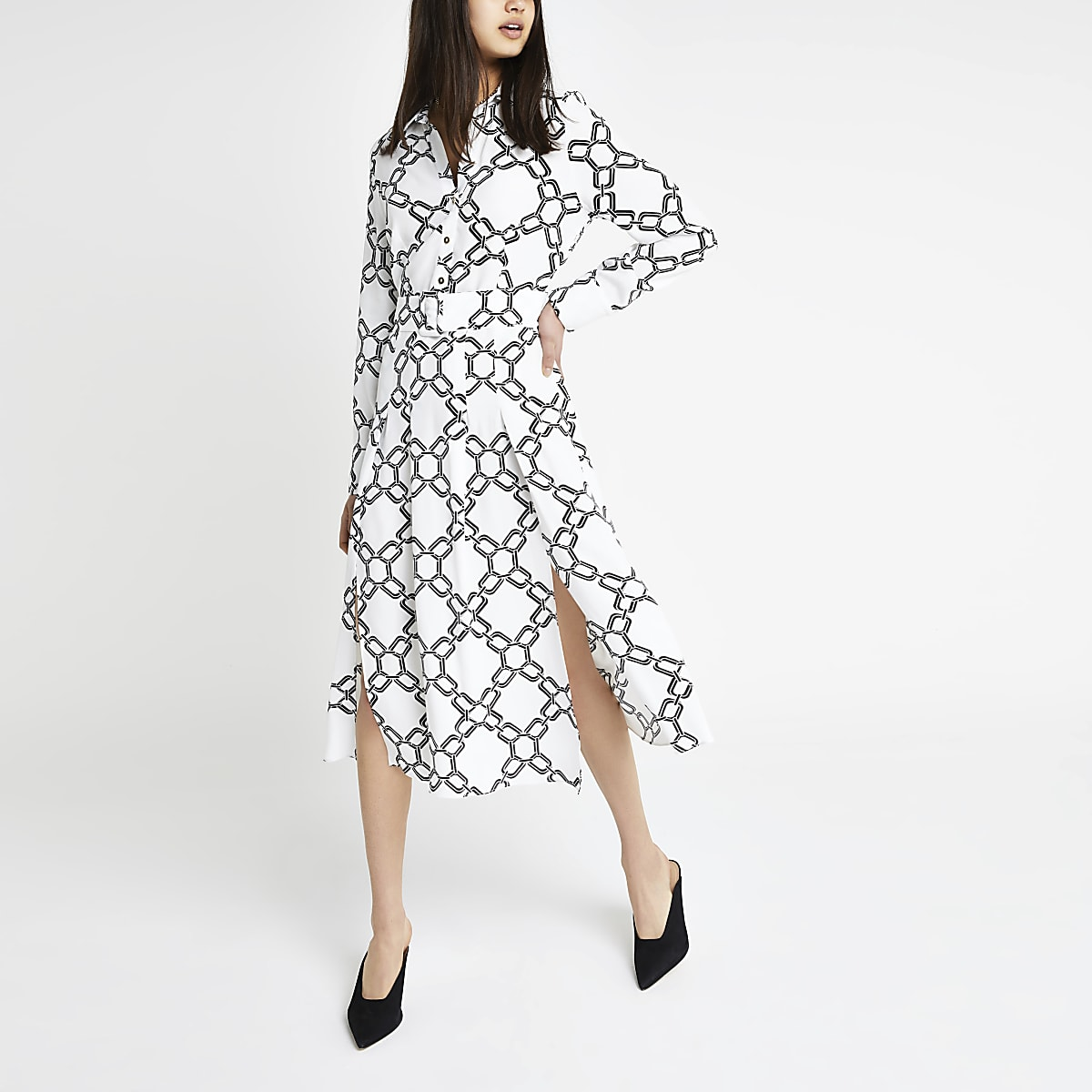 White print midi shirt dress