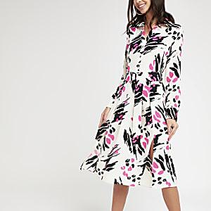 Pink print midi shirt dress