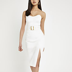 White belted bodycon midi dress