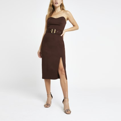 Brown bandeau bodycon dress
