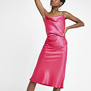 Pink cowl neck cami top