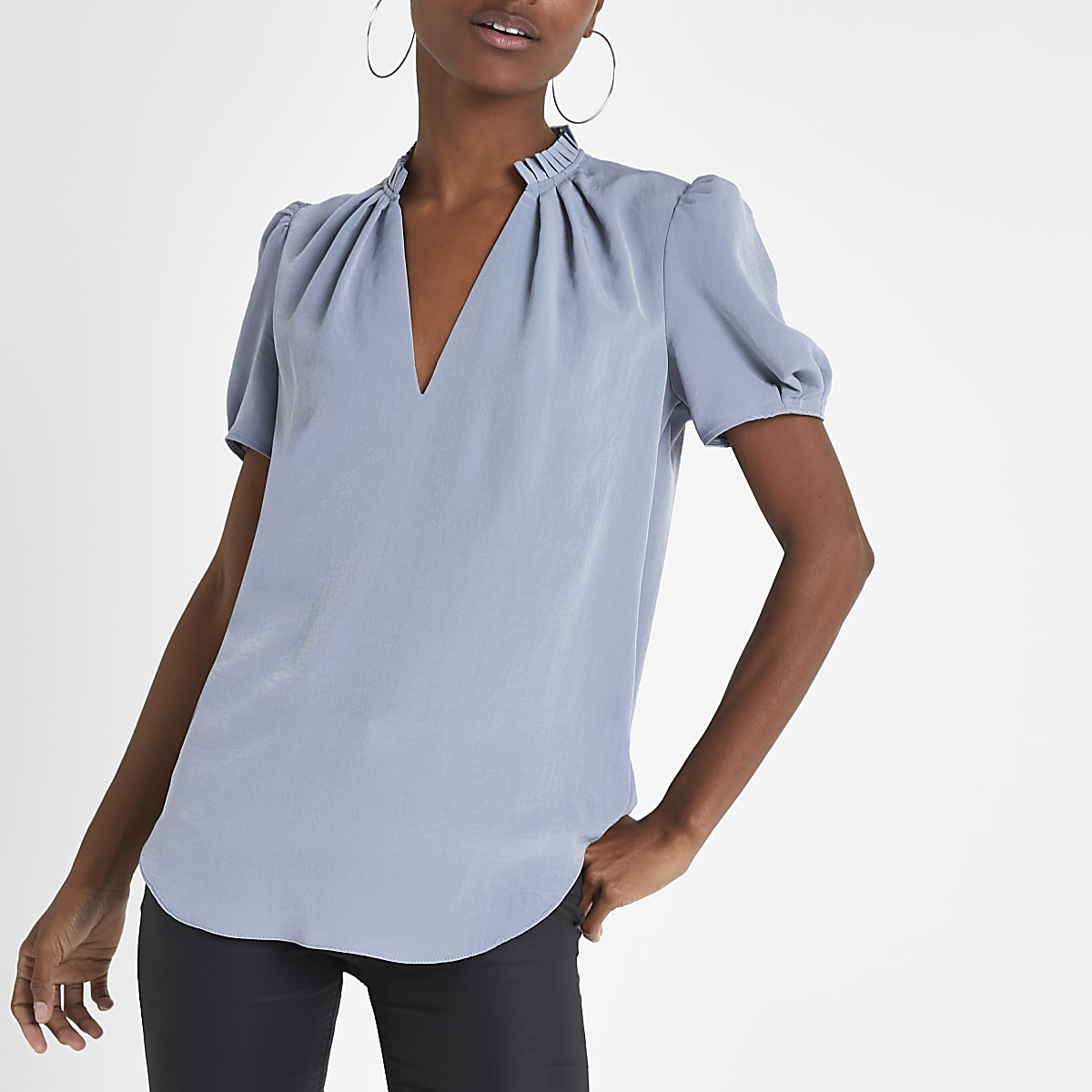 Light grey V neck shell top
