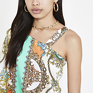 Turquoise scarf print one shoulder top