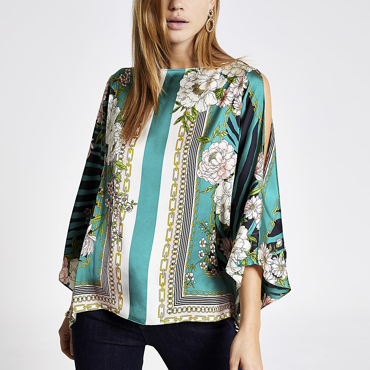 Green scarf print cape top