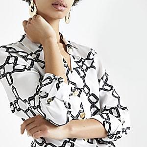 Zwart overhemd met kettingprint