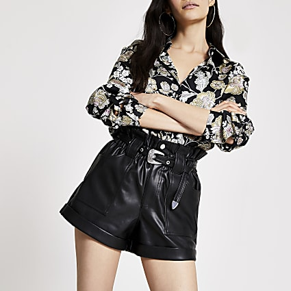 Black belted faux leather Mom shorts