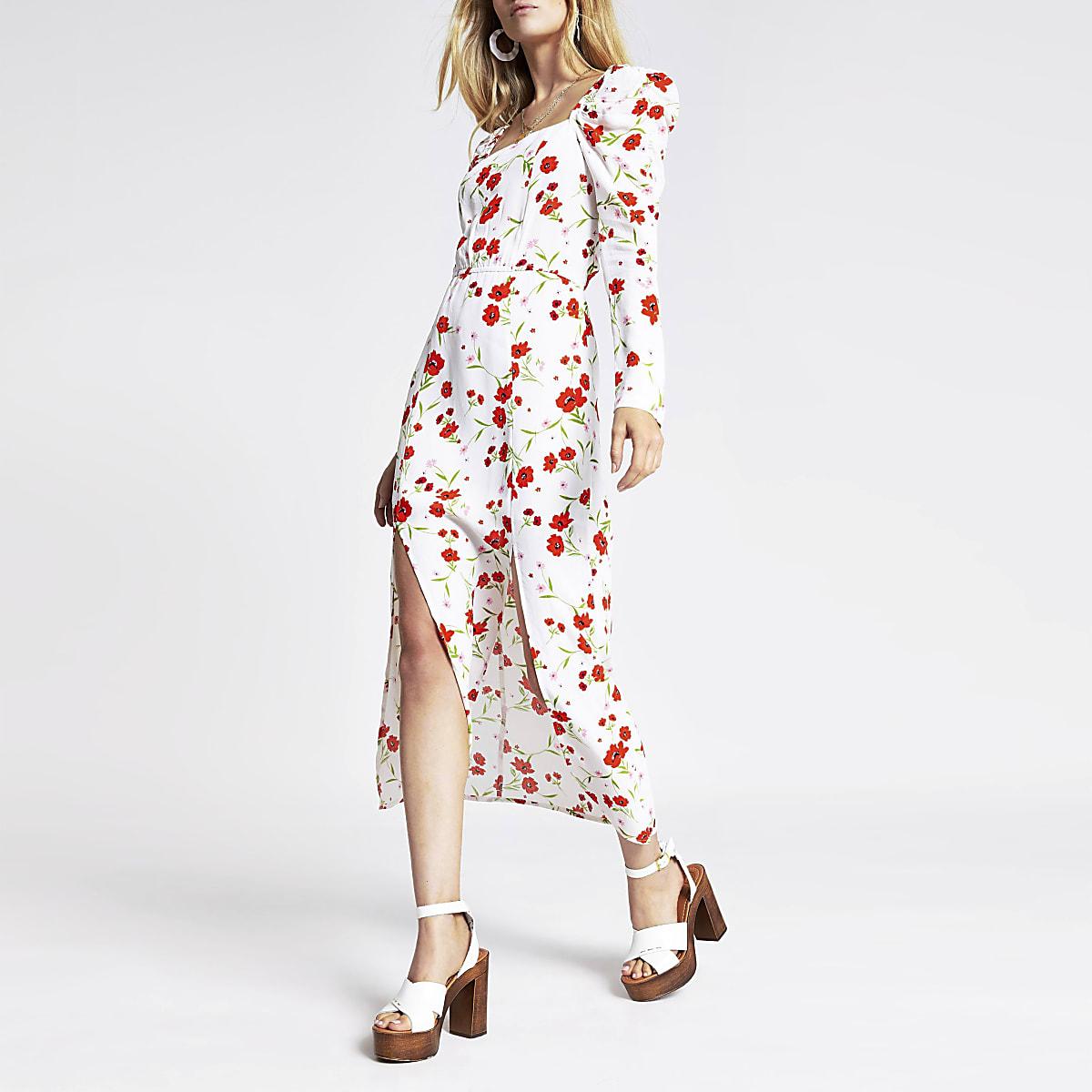 Witte maxi-jurk met bloemenprint en vierkante hals
