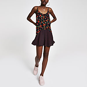 Black floral frill slip dress