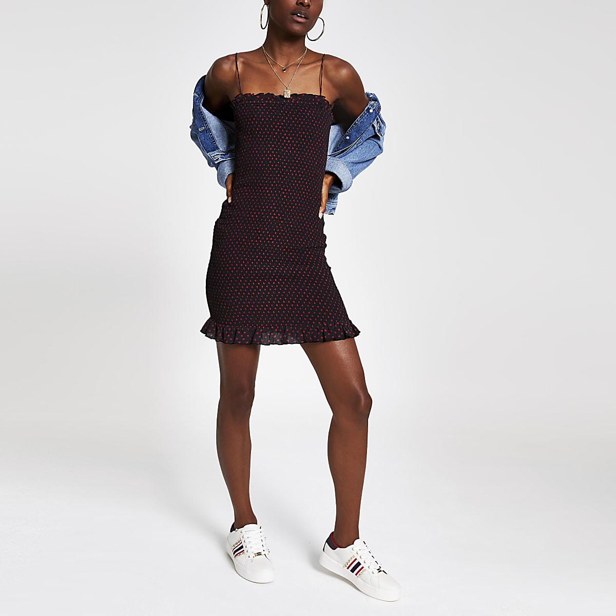 Black print shirred bodycon dress