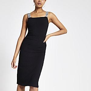 Zwarte midi-jurk met zebraprint