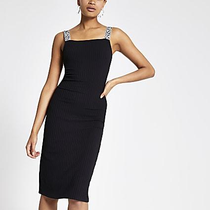 Black zebra print trim midi dress