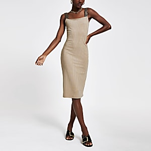 Beige zebra print trim midi dress