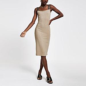 Beige midi-jurk met zebraprint