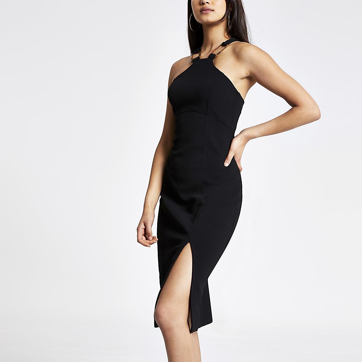7f25b12b371 Robe moulante mi-longue noire - Robes moulantes - Robes - Femme