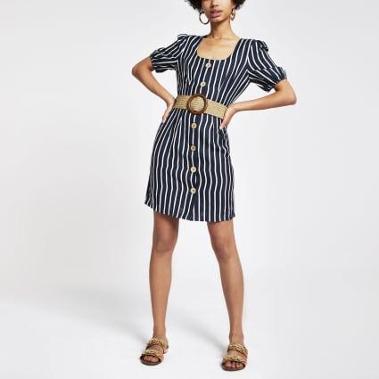 Navy stripe belted puff sleeve dress