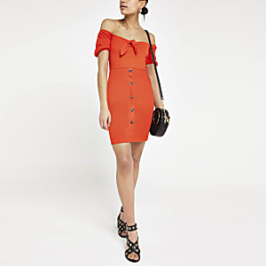 Red bardot tie front mini dress