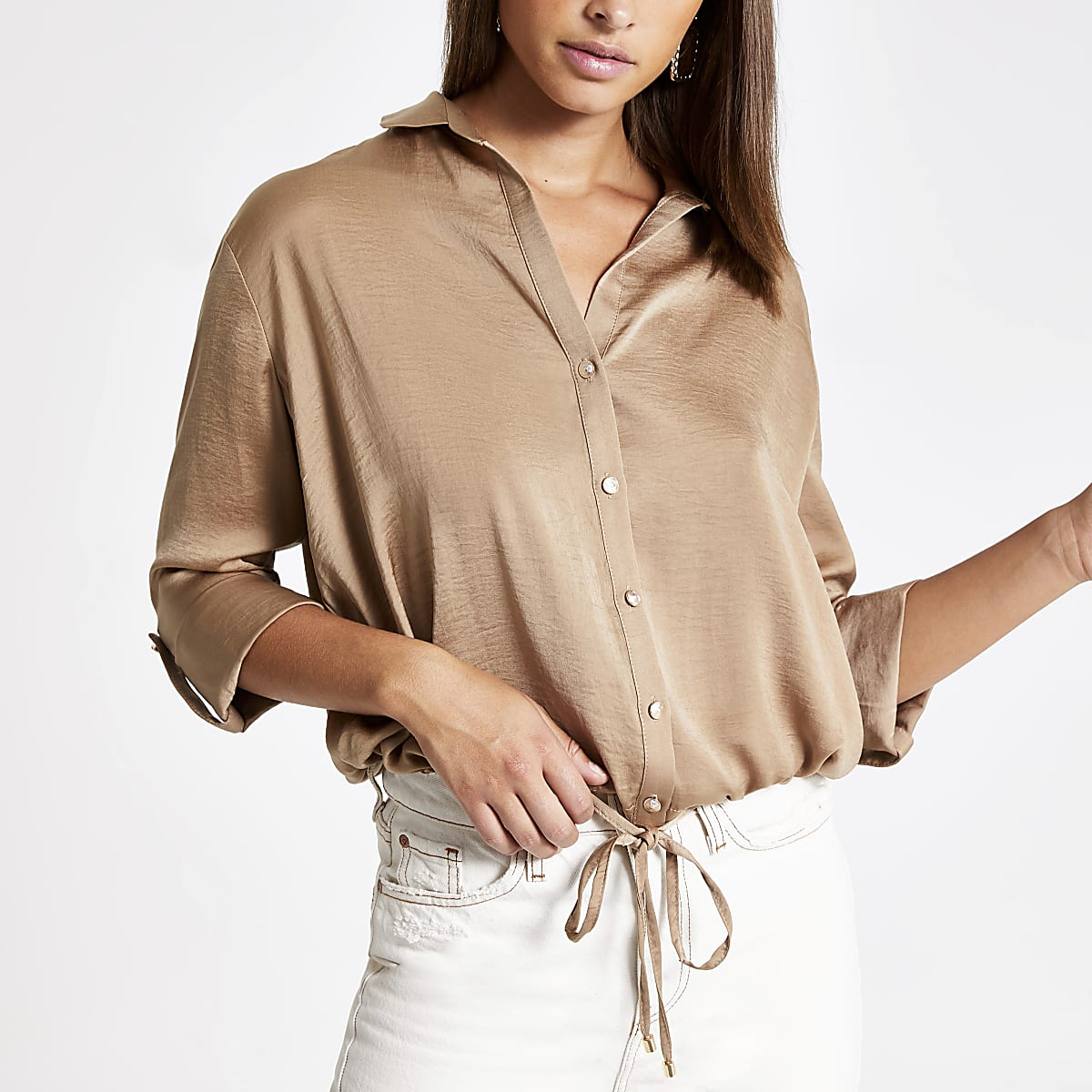 Light brown drawstring shirt