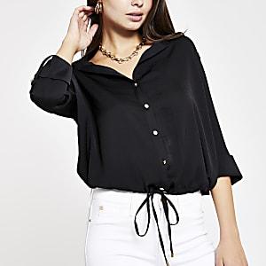 Zwart overhemd met trekkoord