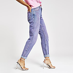 Pink acid Mom high rise jeans