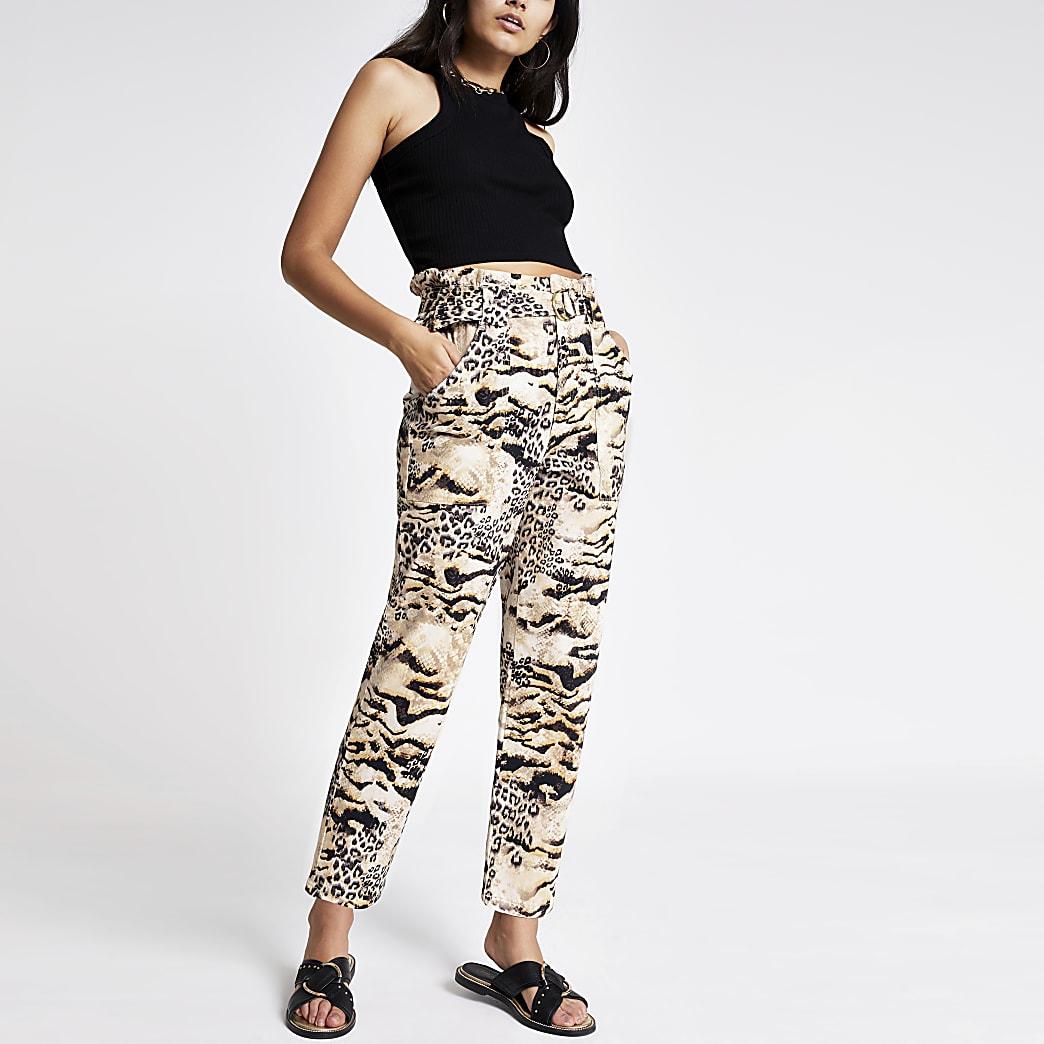 Bruine jeans met dierenprint en geplooide taille
