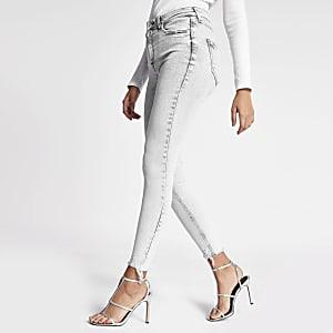 Hailey – Graue Acid-Jeans mit hohem Bund