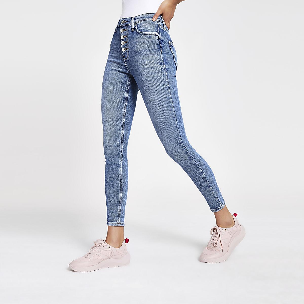 Hailey - Middenblauwe jeans met hoge taille