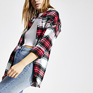Red check long sleeve boyfriend shirt