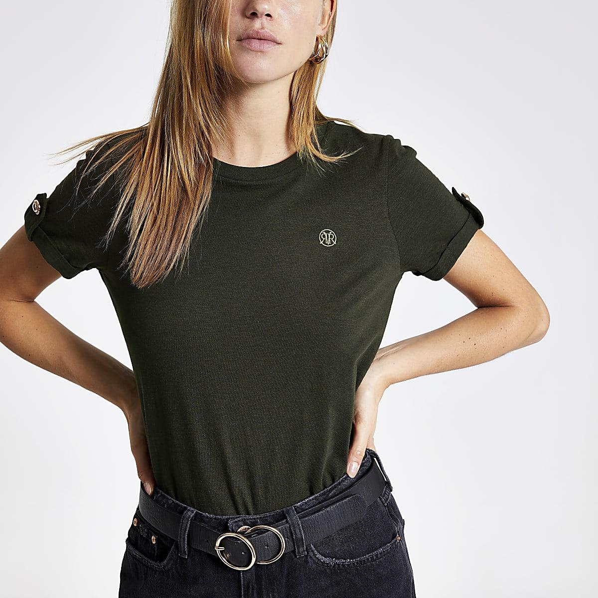 Khaki RI rolled up sleeve T-shirt