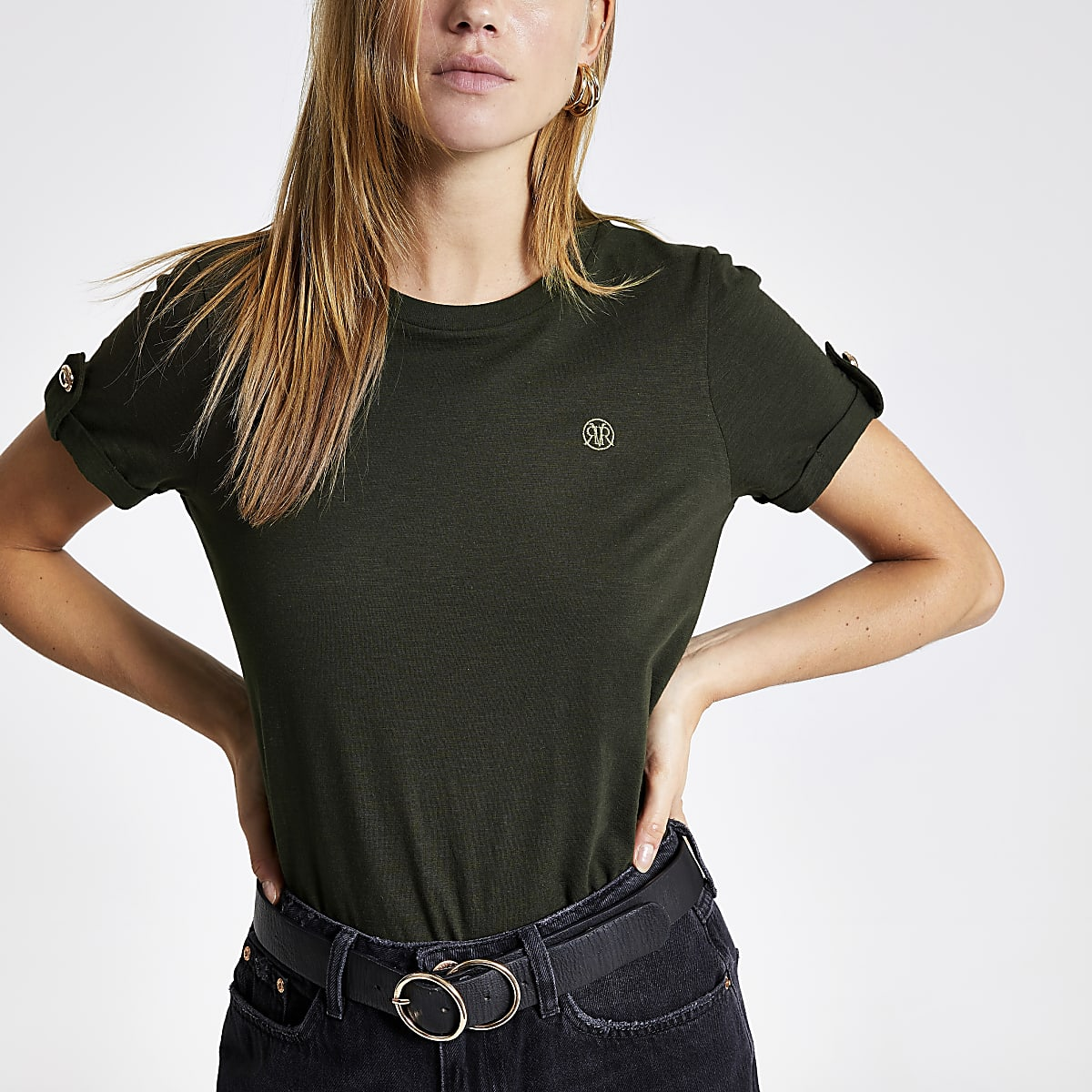 Kaki T-shirt met RI-logo en omgeslagen mouwen