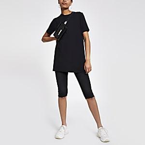 T-shirt noir bordé de strass