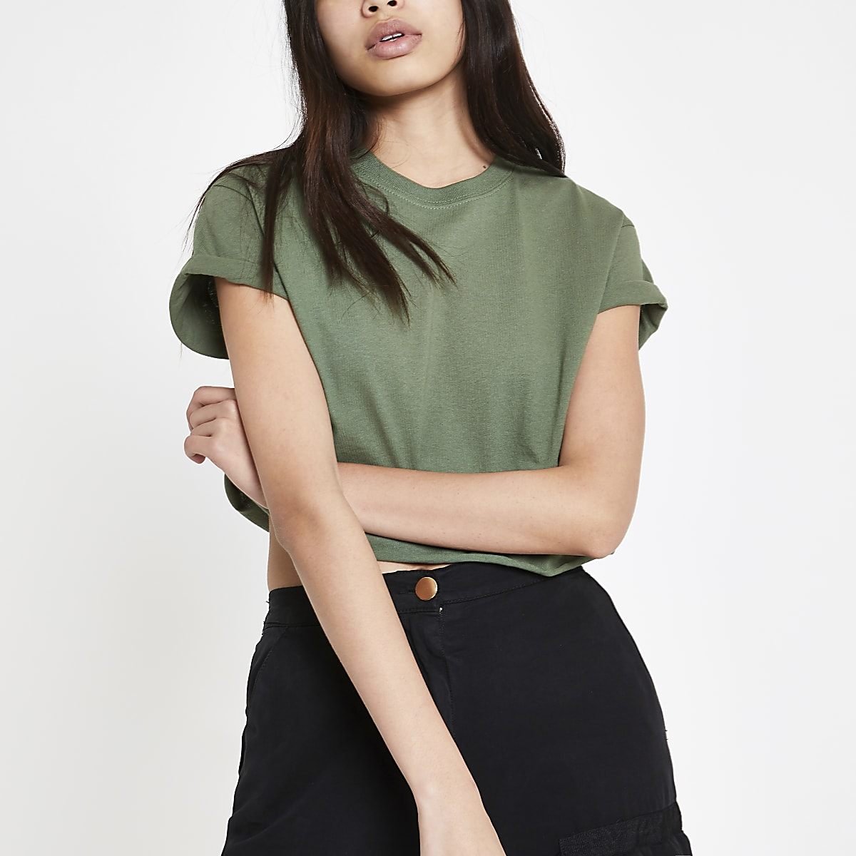Kaki cropped T-shirt met korte mouwen
