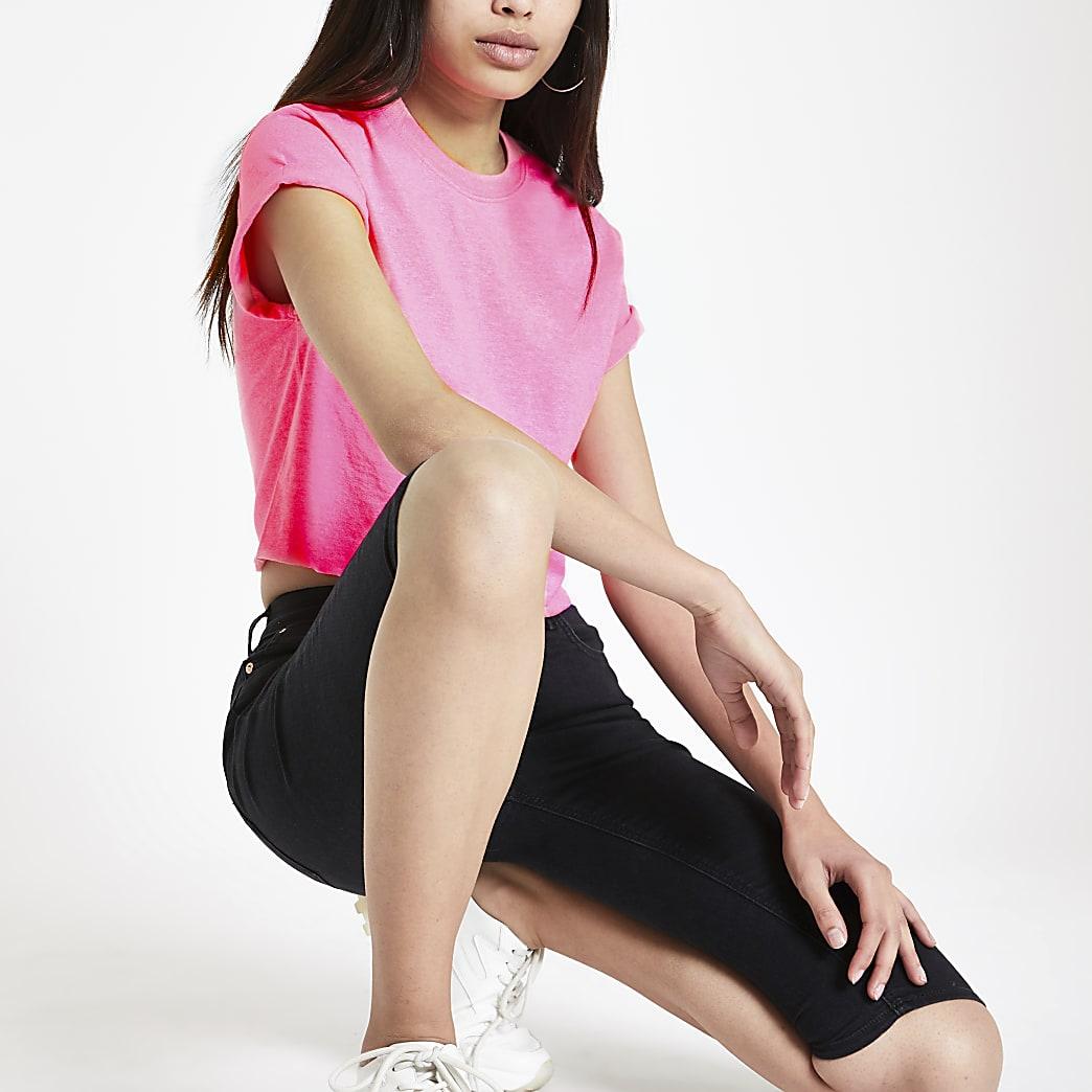 Pink short sleeve crop T-shirt