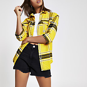 Yellow long sleeve check shirt