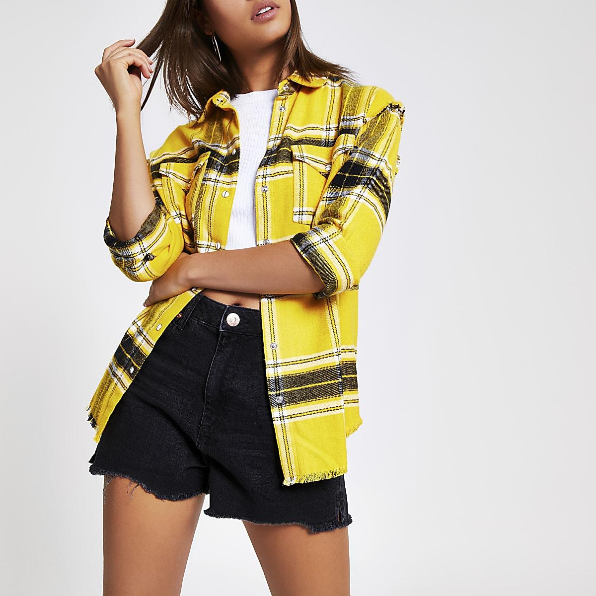 Geel geruit overhemd met lange mouwen