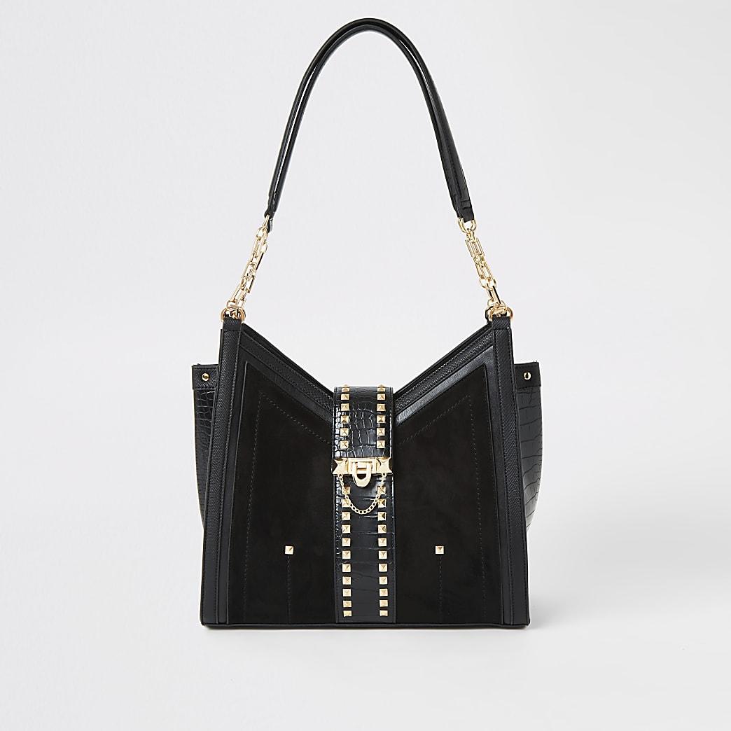 Black stud embellished slouch bag