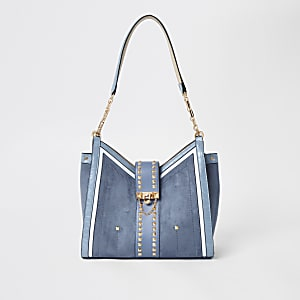 Blue studded slouch bag