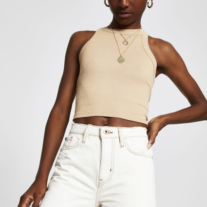 Beige racer crop top