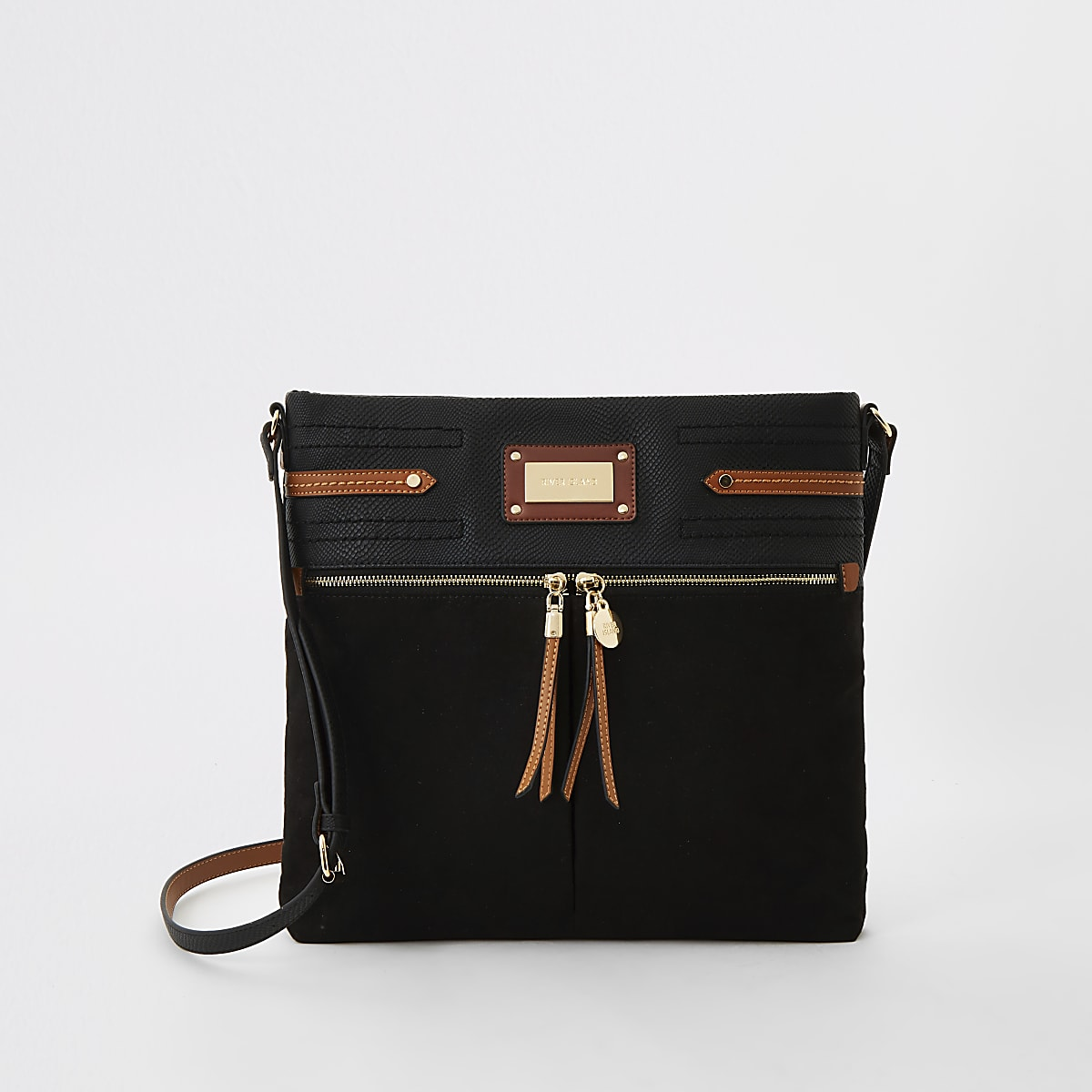 Black double pocket messenger cross body bag