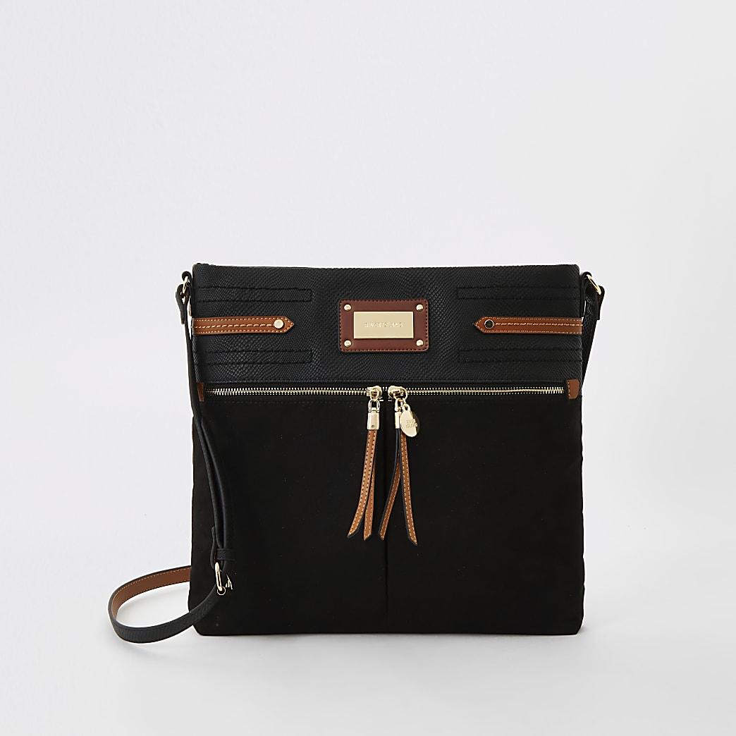 Black double pocket messenger cross body bag