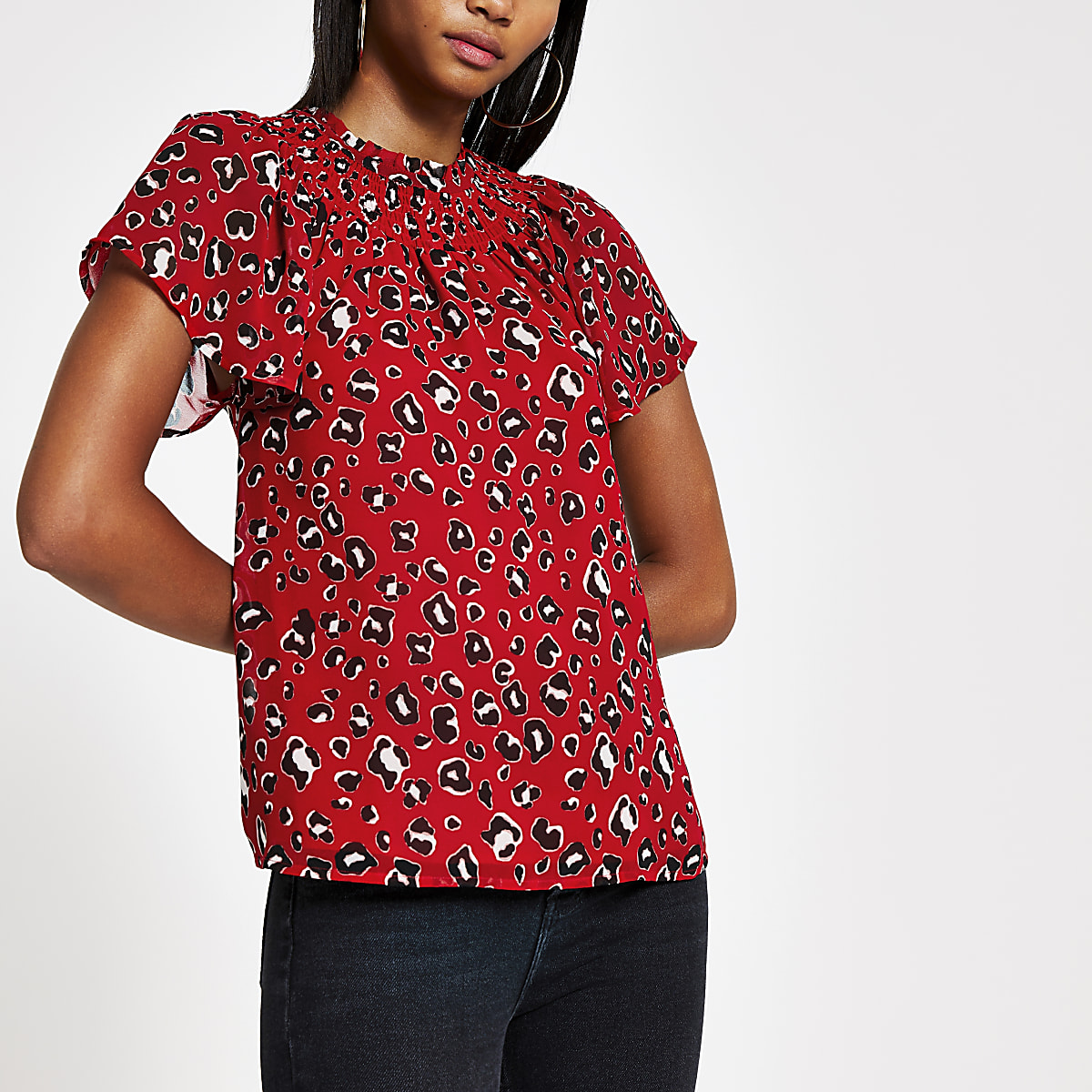 Red jacquard print frill neck shell top
