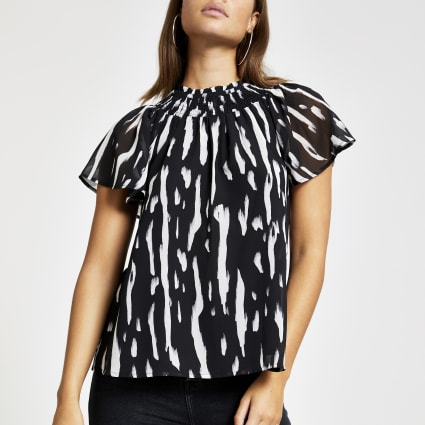 Black print shirred top