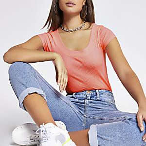 Neon pink scoop neck T-shirt