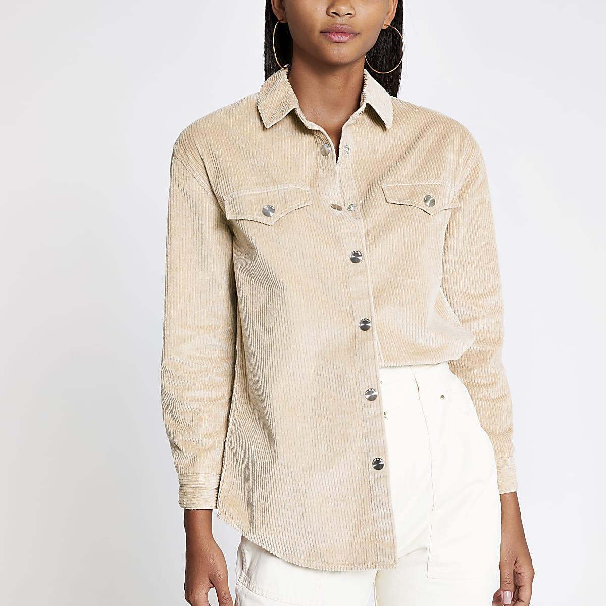 Beige corduroy overhemd